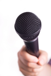 Picture of a Microphone pointing to the viewer